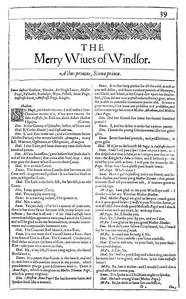 From the 1623 First Folio. STC 22273 Fo.1 no.68, D2r