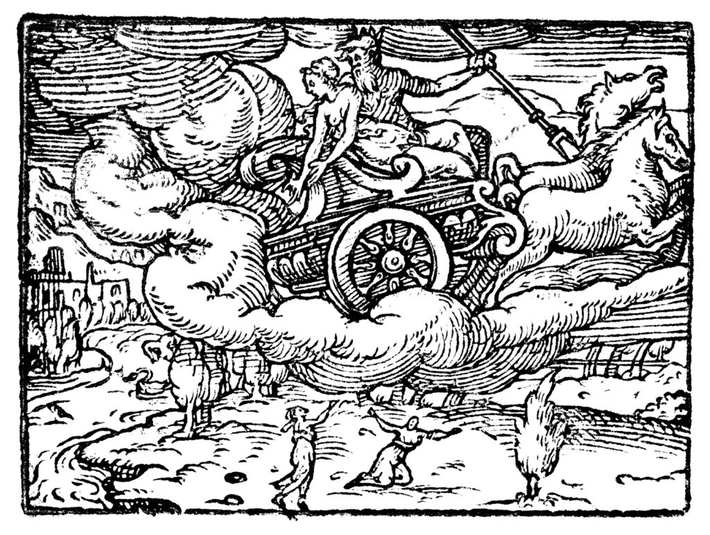 "Proserpina being abducted in ""Dis's wagon."""