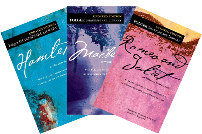Cover images of Romeo and Juliet, Macbeth, and Hamlet