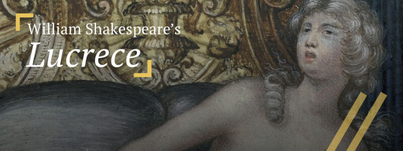 Lucrece: Detail of painting depicting a tearful Lucrece in bed